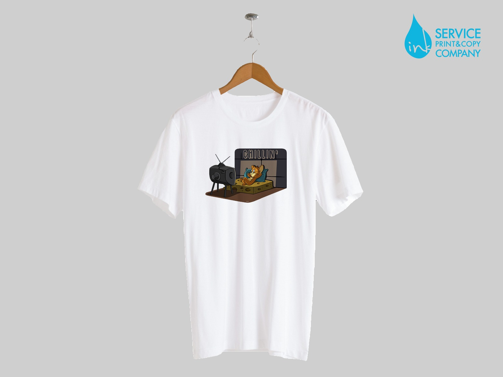 Print on short sleeves t-shirts (White)